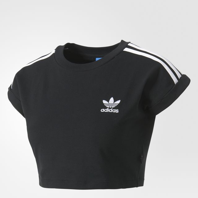 reworked adidas two piece t shirt crop top cord shorts crew