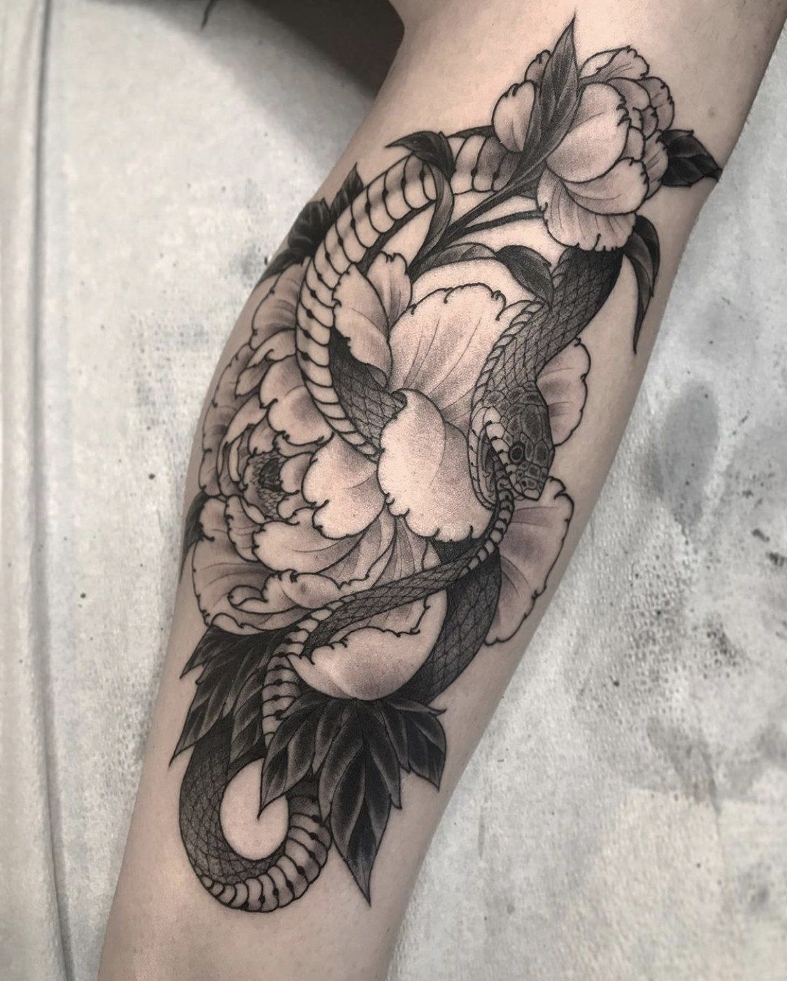 Ouroboros Peonies By Tyler Pennington Of Talon Tattoo Winston