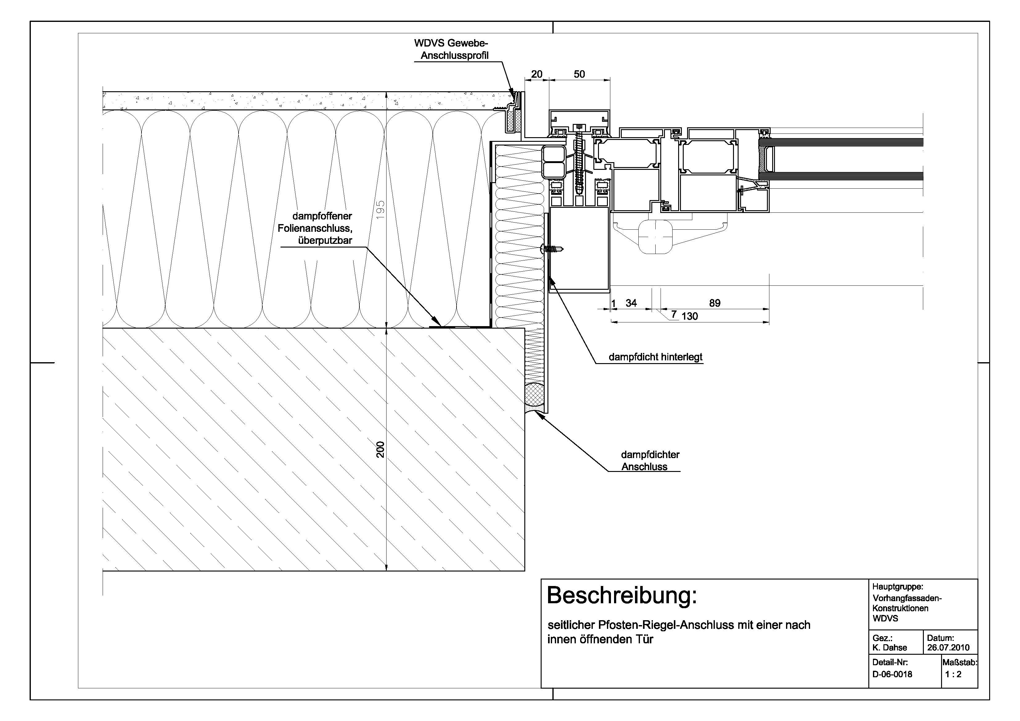 d 06 0018 seitlicher pfosten riegel anschluss mit einer. Black Bedroom Furniture Sets. Home Design Ideas