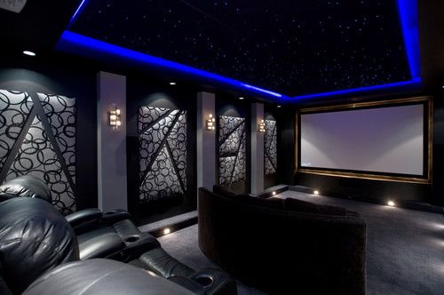 Home Theater Led Ceiling Upholstered Panels Black Gray Charcoal Home Theater Room Design Home Cinema Room Home Theater Design