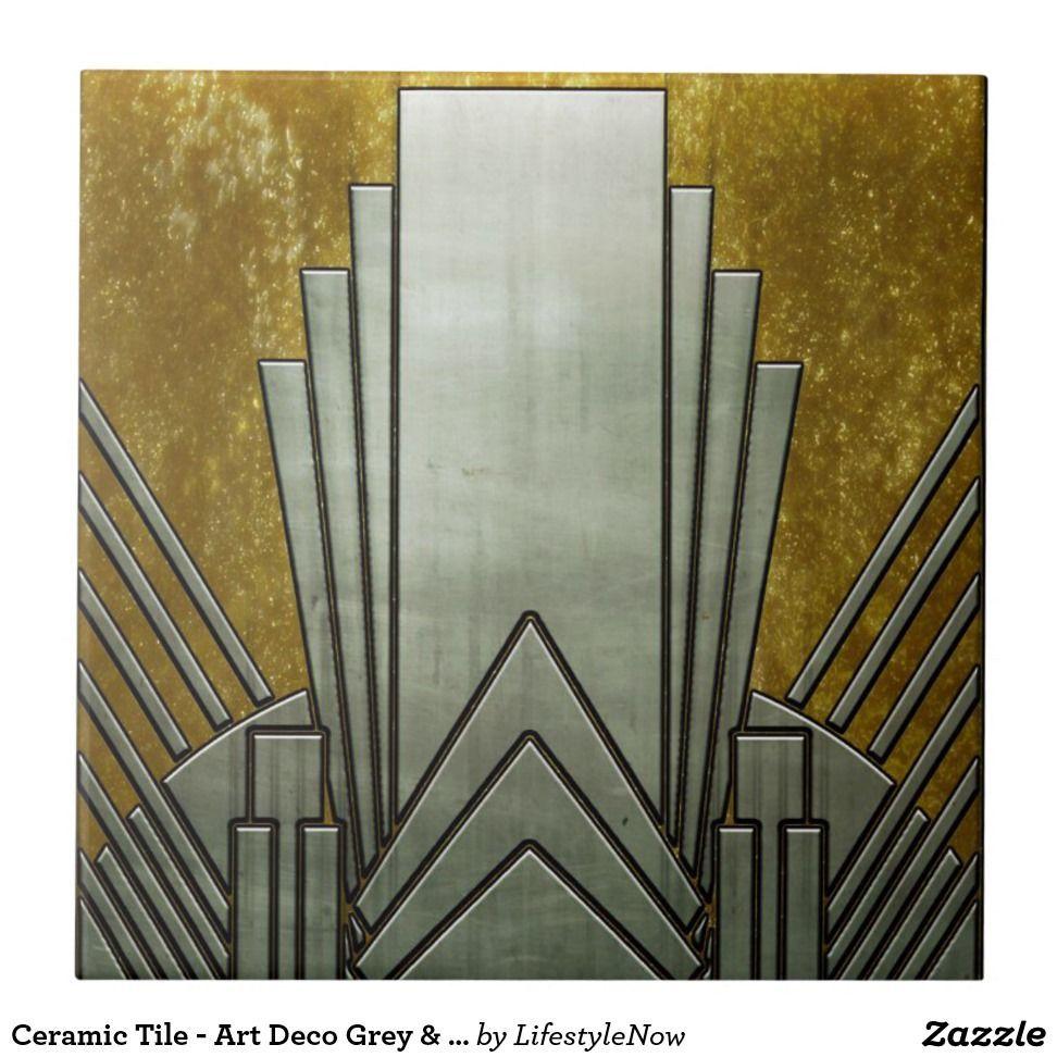 Ceramic Tile - Art Deco Gray & Gold | Zazzle.com
