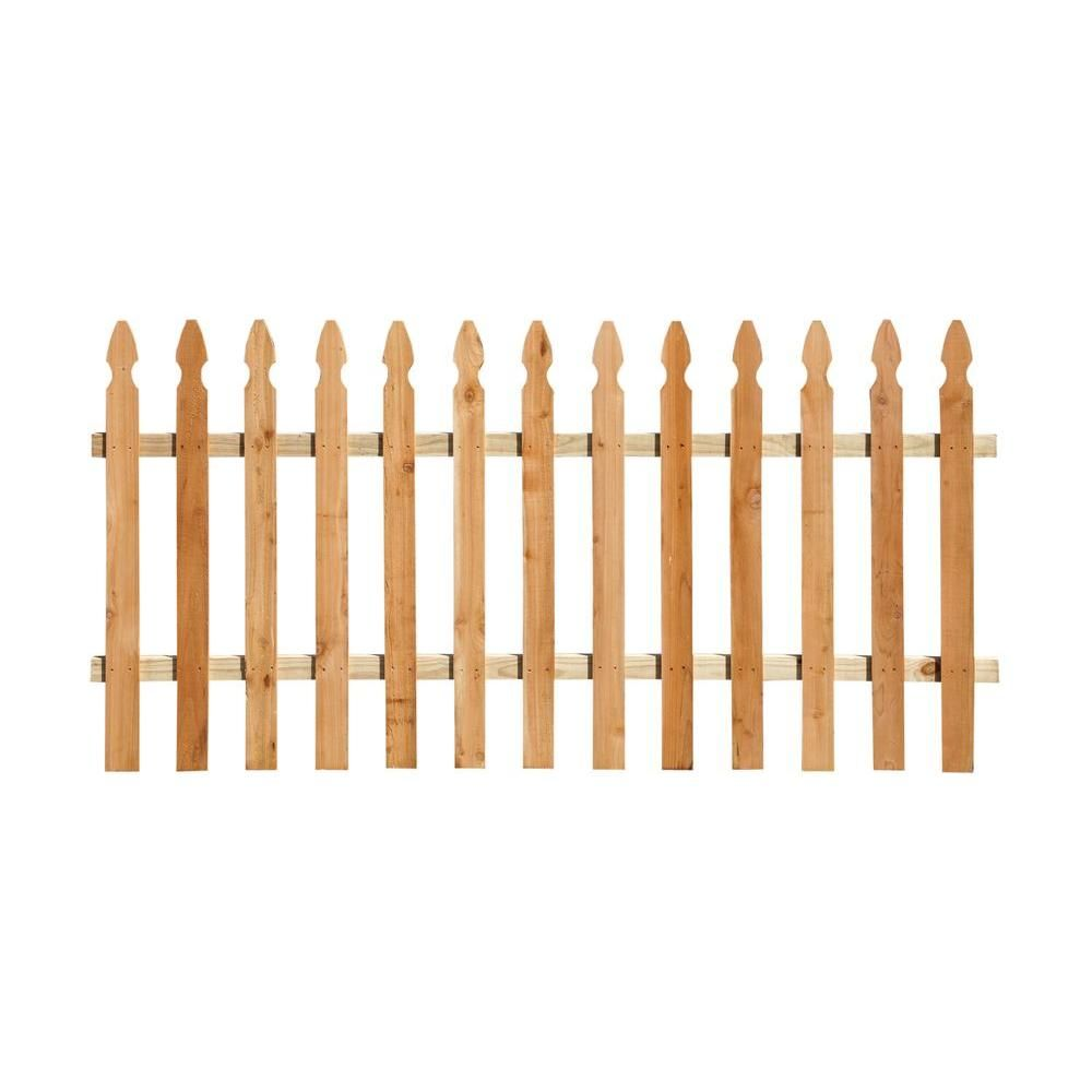 Outdoor Essentials 3 1 2 Ft X 6 Ft Western Red Cedar French Gothic Fence Panel Kit 240396 The Home Depot Fence Panels Outdoor Essentials Western Red Cedar