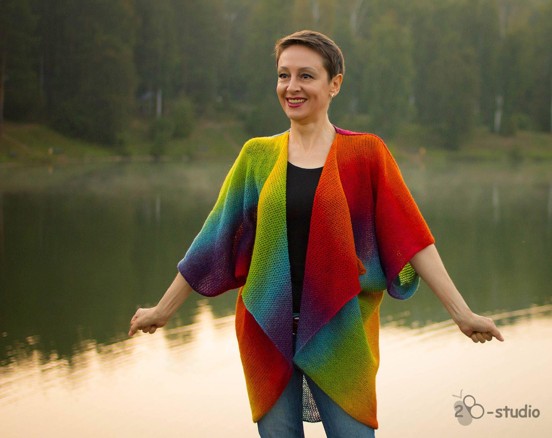 Knitting Pattern Geometric Cardigan Plus Size Cardigan