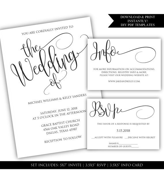 DIY Wedding Invitation Template Fancy by ClassyPrintsOnline - formal invitation template free