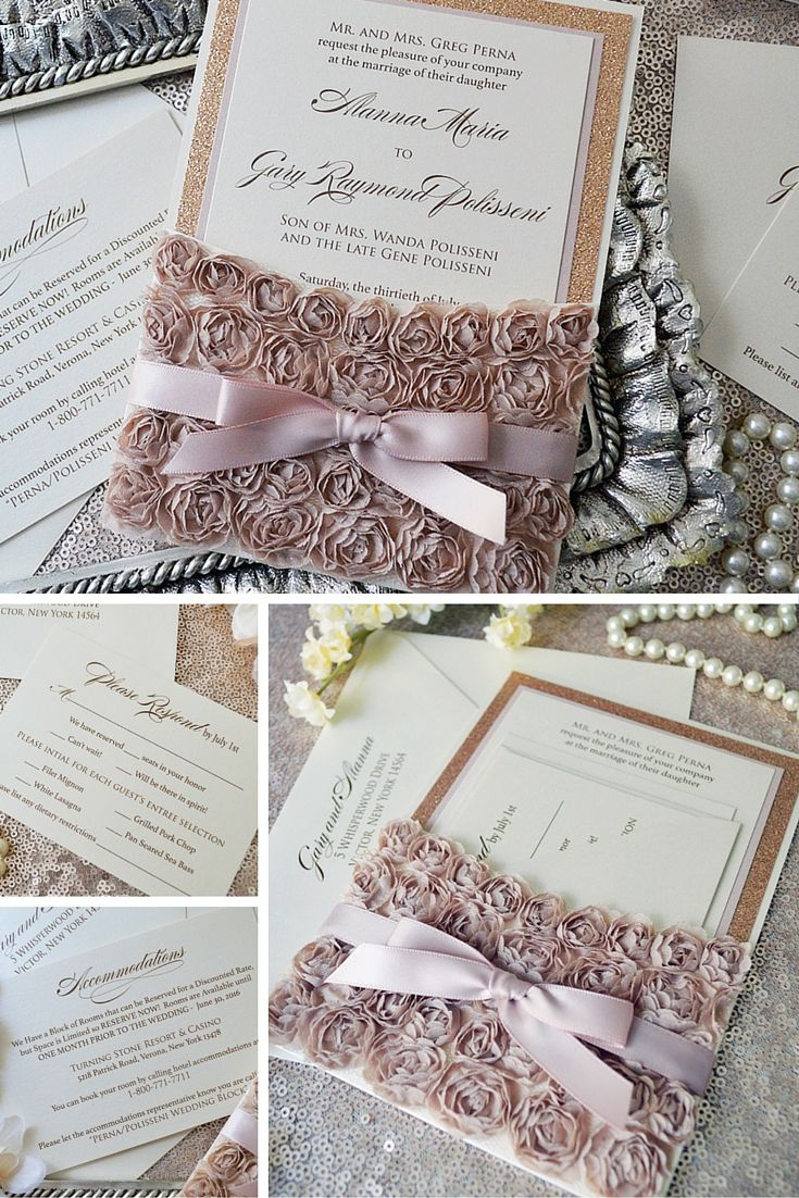 Rosette Lace Wedding Invitation Lace Pocket Invitation With Rose