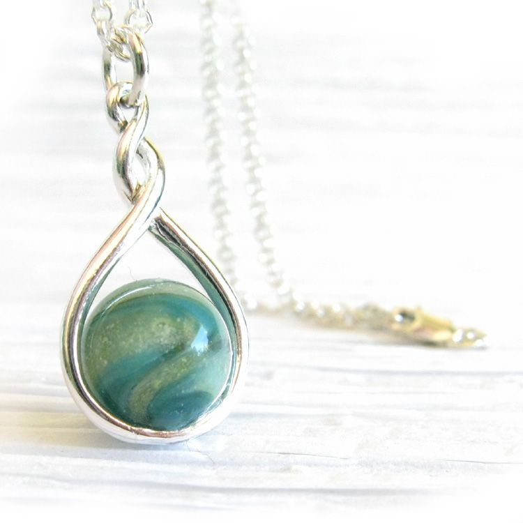 Eternity Glass cremation ashes memorial pendant necklace