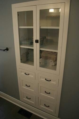 Linen Closet Replace Door With Glass Doors And Drawers
