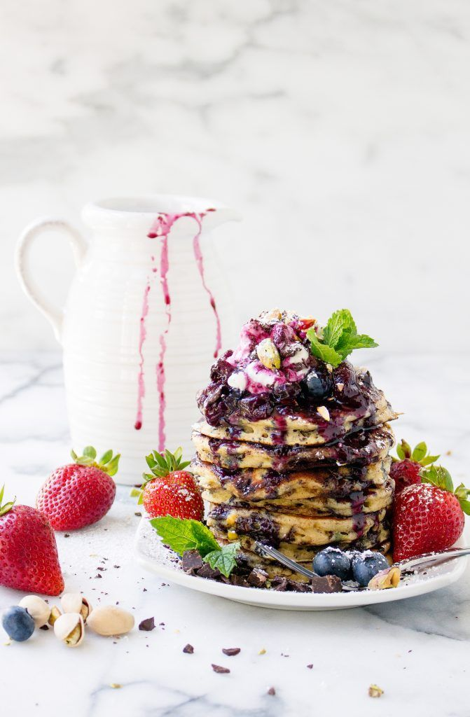 Dark Chocolate and Pistachio Pancakes with Fresh Berry Syrup