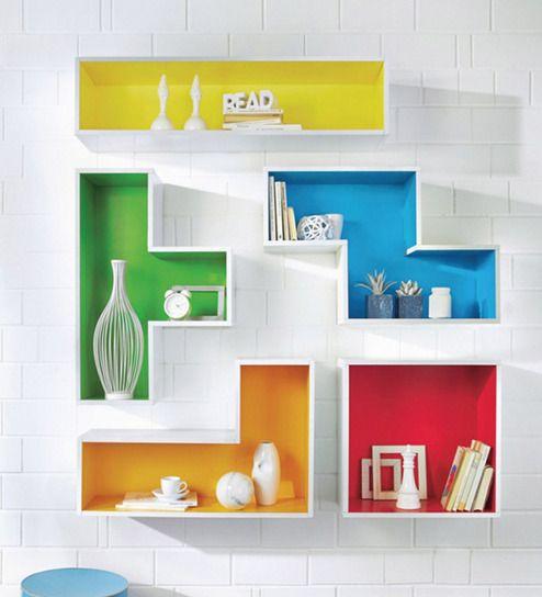 The Attic Multicolour Tetris Mango Wood Wall Shelf Pictures Gallery