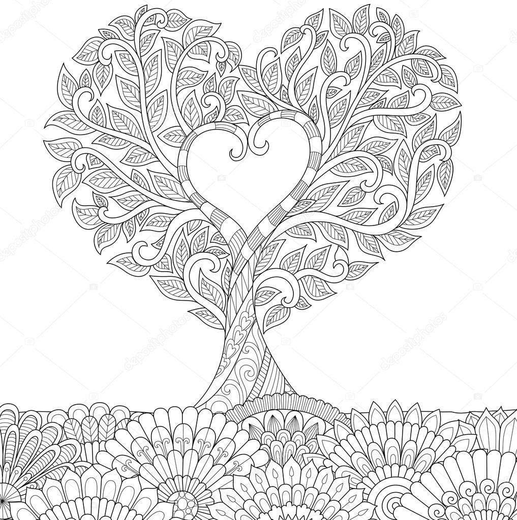 Descargar - Flores en forma de corazón en el arte de línea tierra ...