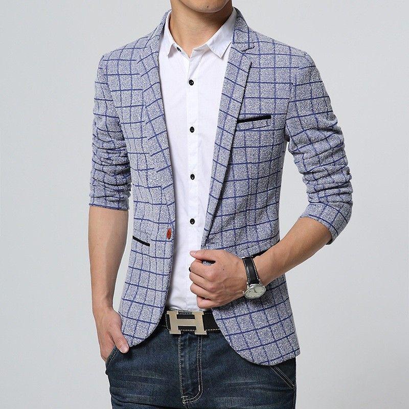 1435919b8d6 Blazer Masculino Branco Slim Fit Xadrez Casual