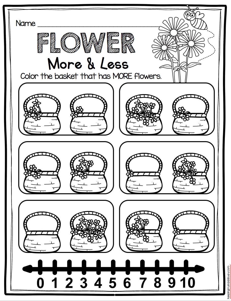 More or less kindergarten worksheet with number lines - easy NO PREP ...