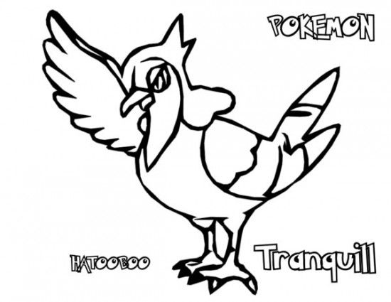 pokemon pitchers tranquill coloring pages - Color Pitchers