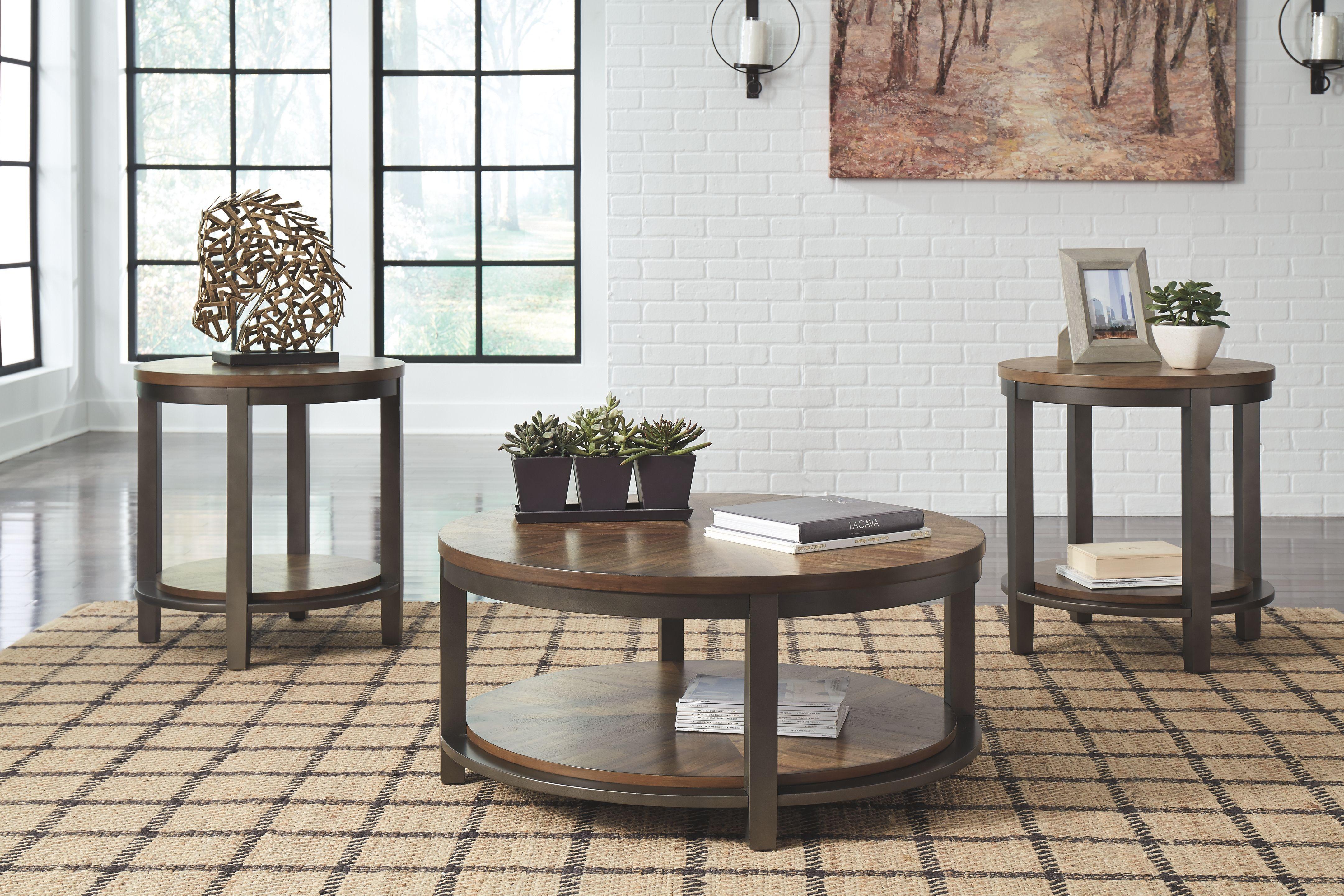 Roybeck Table Set Of 3 Light Brown Bronze In 2020 3 Piece Coffee Table Set Table Table Settings
