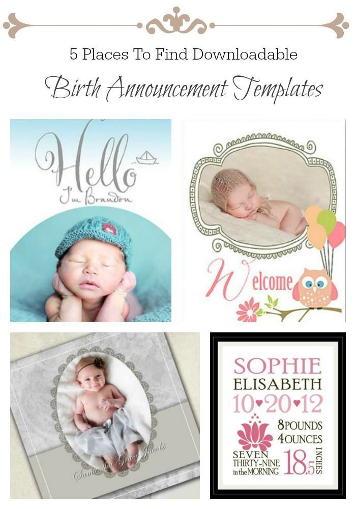 5 Places To Find Downloadable Birth Announcement Templates Baby on