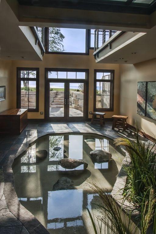 Interior Design Koi Fish Pond Design With Natural Stone Indoor