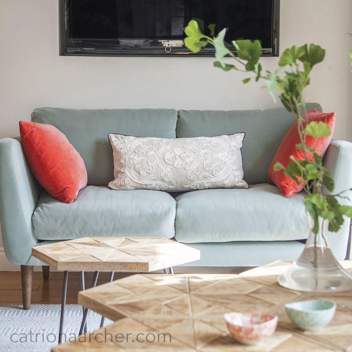 Light Blue Velvet Sofa With Coral Red Velvet Accent Cushions Light Blue Rooms Light Blue Sofa Blue Velvet Sofa