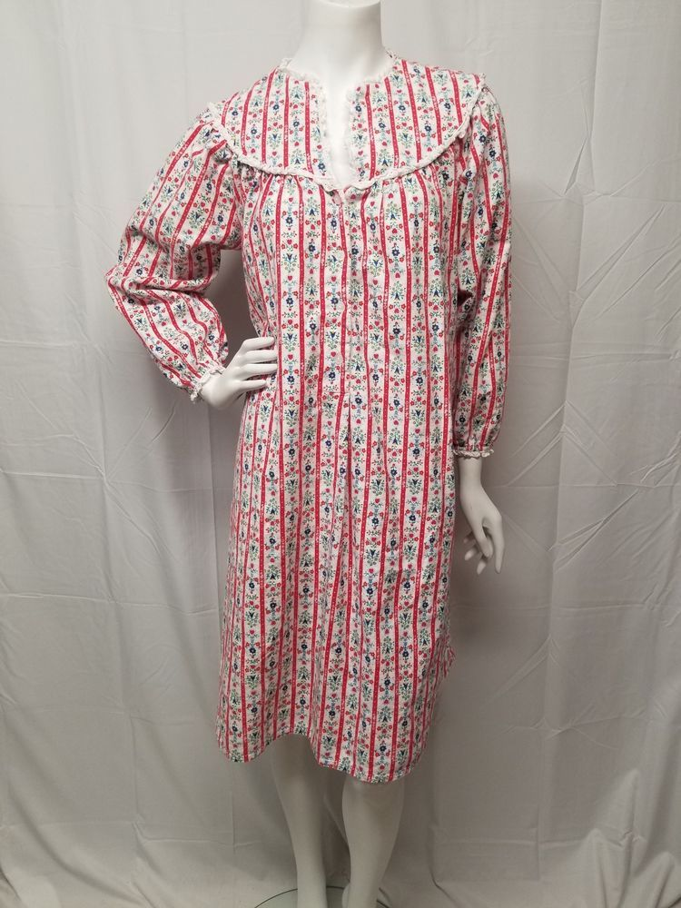 Vtg LANZ OF SALZBURG Red White Floral Flannel Cotton Granny Gown ...
