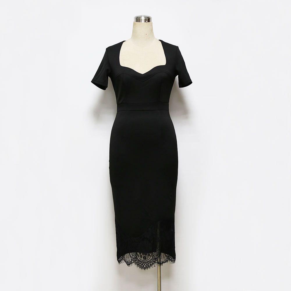 Summer lady square collar short sleeve slim pencil dress brief one