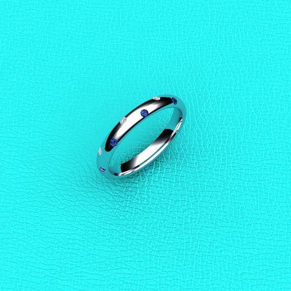 Wolfenstein Wedding Ring.14k White Gold Flush Set Sapphire And Diamond Band Things I Love