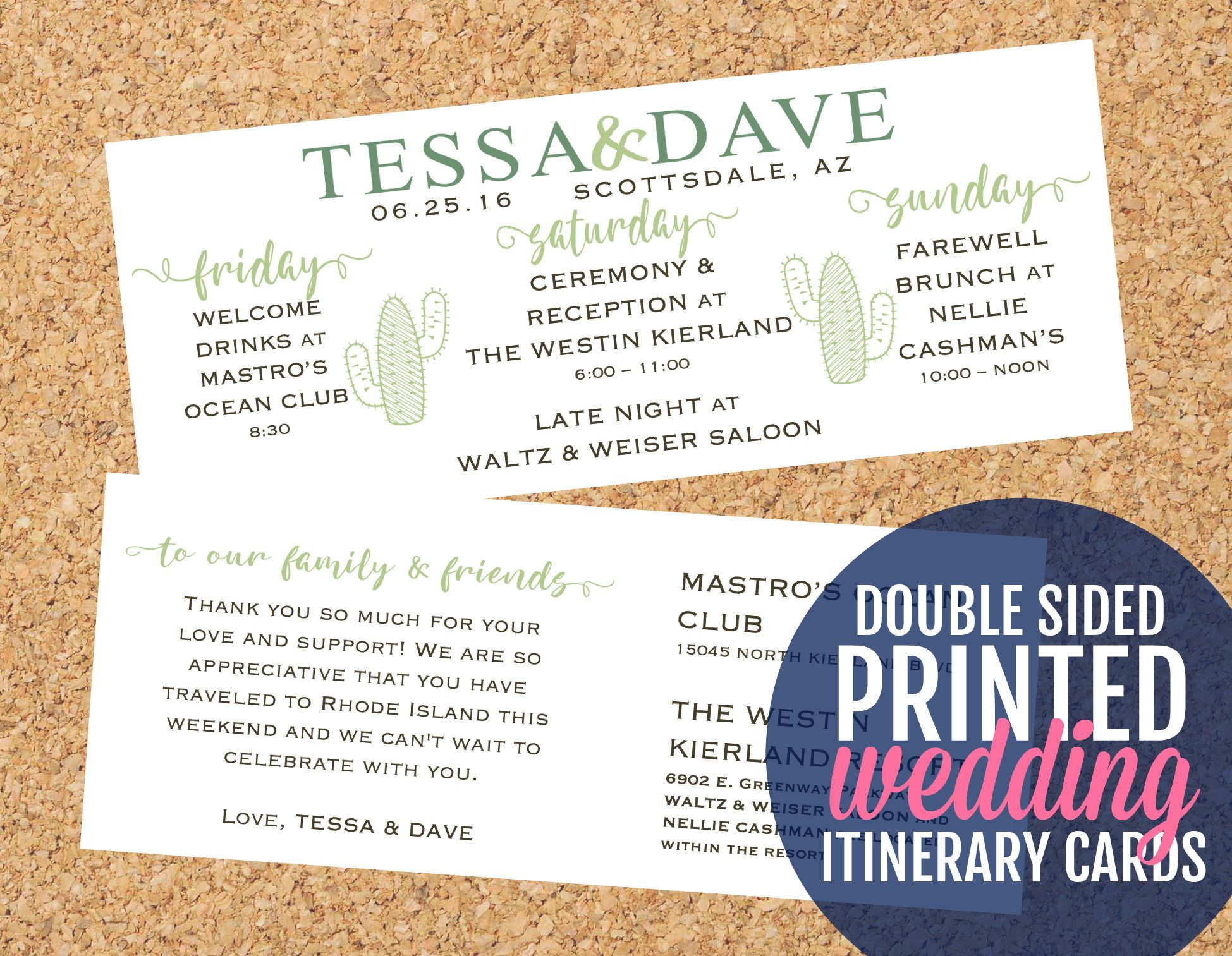 Cactus Wedding Itinerary Cards Double Sided Southwest Timeline Welcome Bag Inserts Custom Succulent Theme Schedule