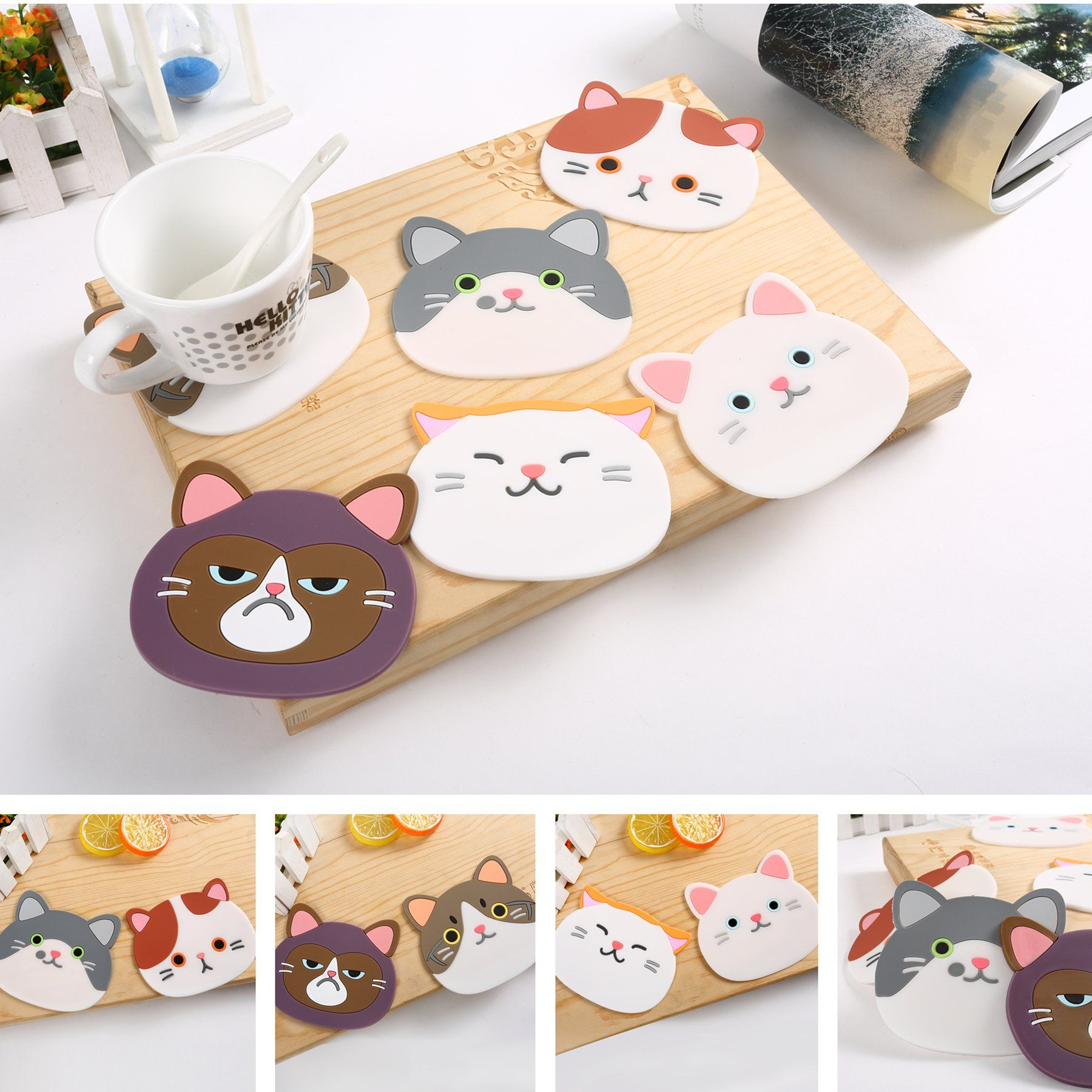 Efivs Arts Qute Cat Cup Mat Silicone Rubber Coaster for