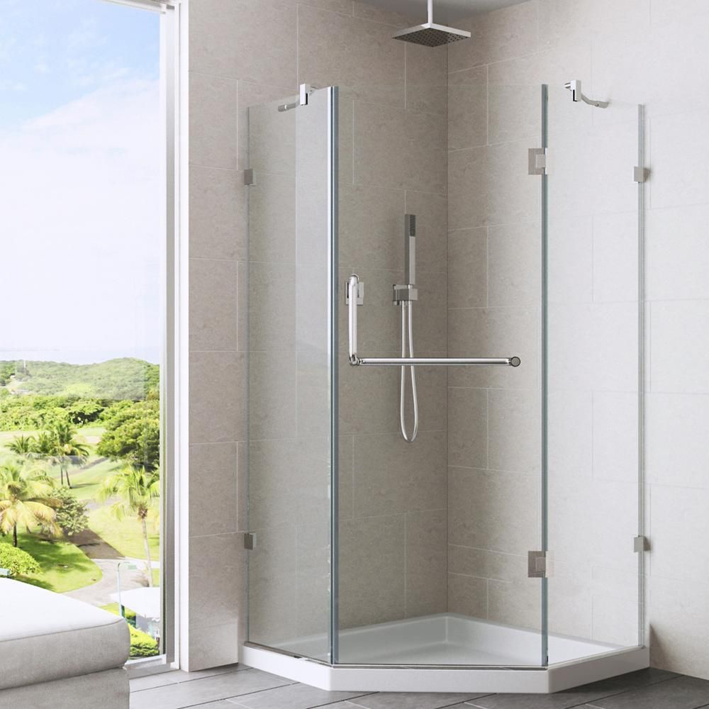 Vigo 40 Inch X 40 Inch Frameless Shower Stall In Clear With Chrome