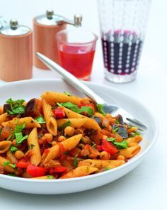 Aubergine and chickpea penne   The Vegan Society