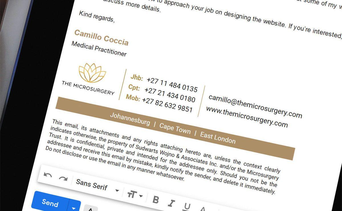 Email signature for Comillo Coccia Medical Practitioner