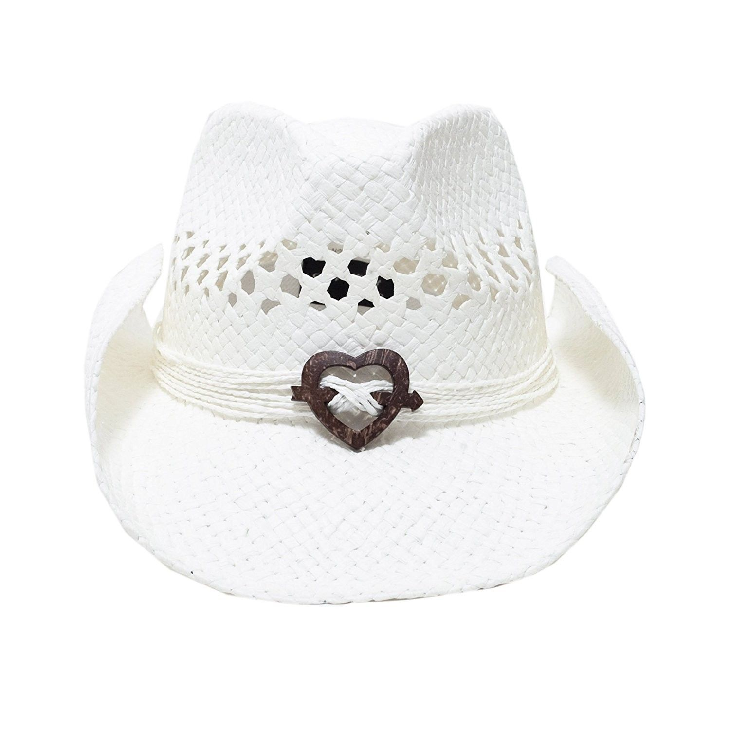 7b187ab13 Boho Hip Cowboy Hat with Heart Concho- Natural Toyo Straw- Shapeable ...