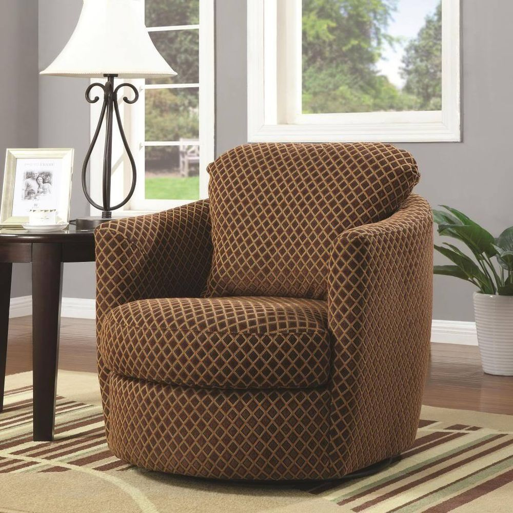 Brown Swivel Accent Arm Chair With A Diamond Print Pattern By Coaster  900405 · Living Room ...