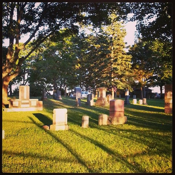 The Port Oshawa Pioneer Cemetery on a lovely August evening.