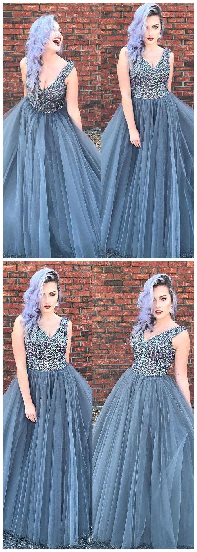 Silver prom dresses aline v neck rhinestone modest long prom dress