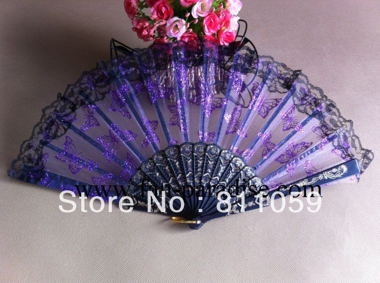 Hot-sell! Free shipping 80pcs/lot butterfly design wedding lace fan with several colors assorted US $72.58