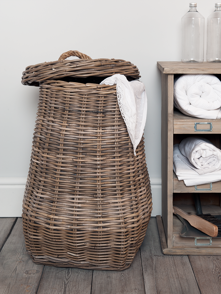 Woven From Durable Natural Rattan In Pear Shaped Design Our Large Laundry Basket Comes Complete With A Lift Off Lid That Includes Sy Rope Handle