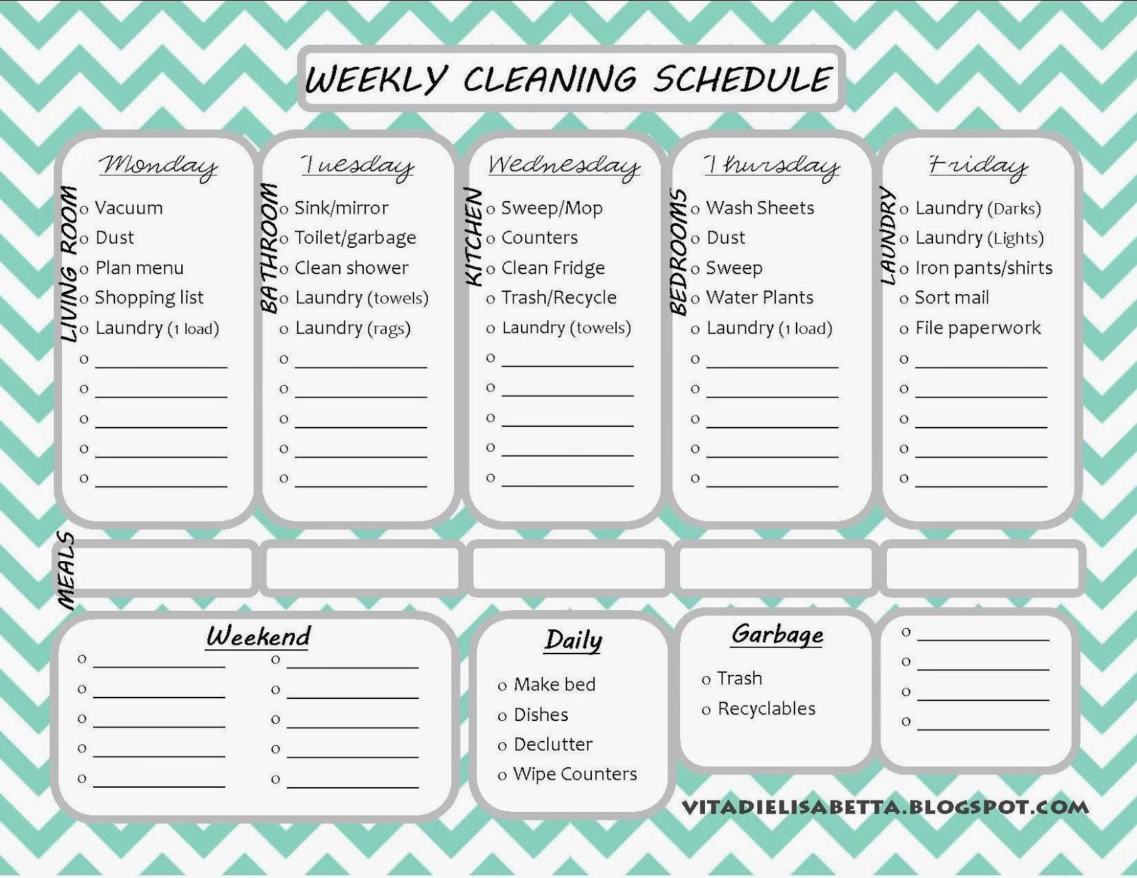 List Junkie Weekly Cleaning Schedule Free Printable