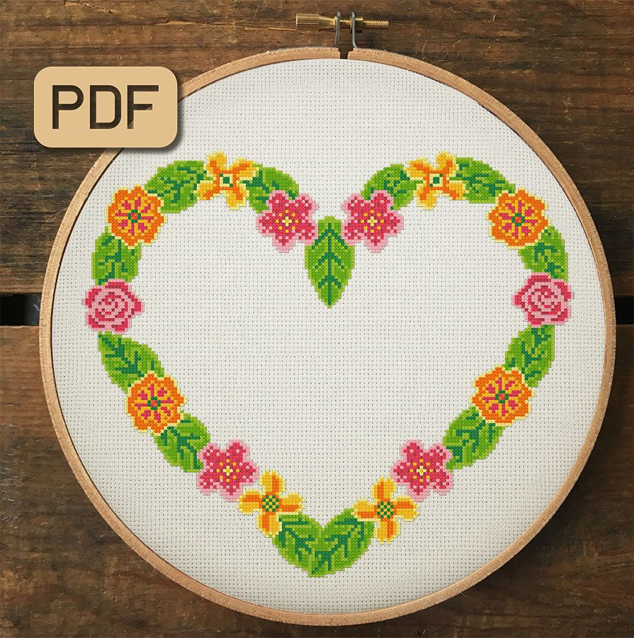 Embroidery Heart cross stitch pattern Modern cross stitch pattern cross stitch PDF Heart rainbow cross stitch pattern Modern wall art