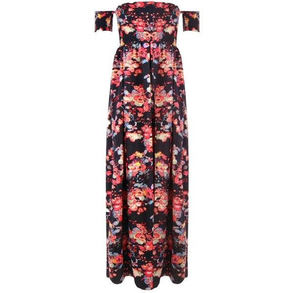 Boohoo Grace Sheered Off Shoulder Floral Maxi Dress ($35) ❤ liked on Polyvore featuring dresses, bodycon mini dress, off the shoulder maxi dress, floral midi dress, red bodycon dress and maxi dresses