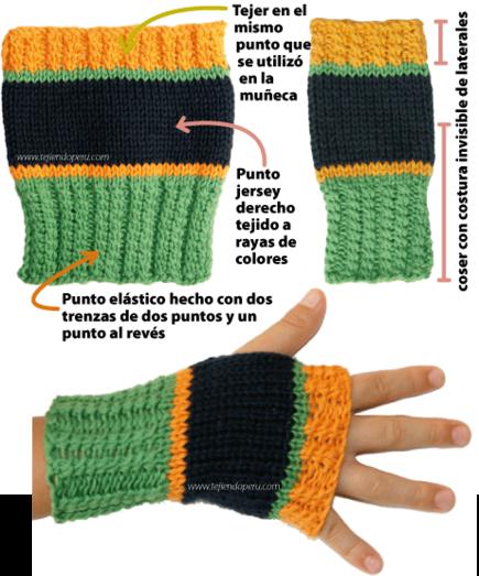 mitones tejiendoperu.com | Knitted wrist warmers | Pinterest ...