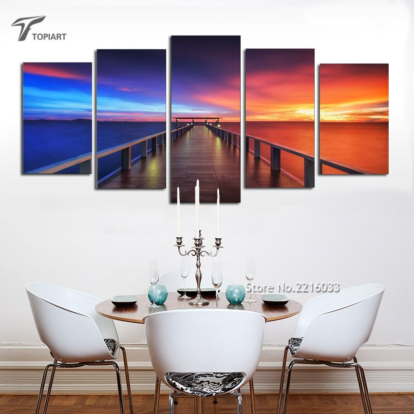 buy sea sunset bridge 5 panel wall art modern seascape canvas prints landscape pictures paintings on canvas for home decor no frame from reliable