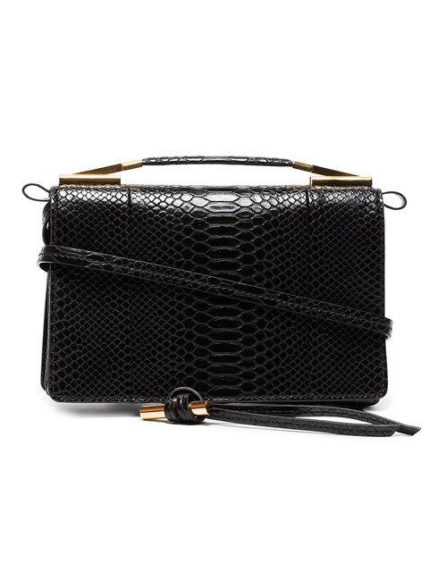 b906a5a074a0 Stella McCartney Black Small Snake Embossed Shoulder Bag - Farfetch