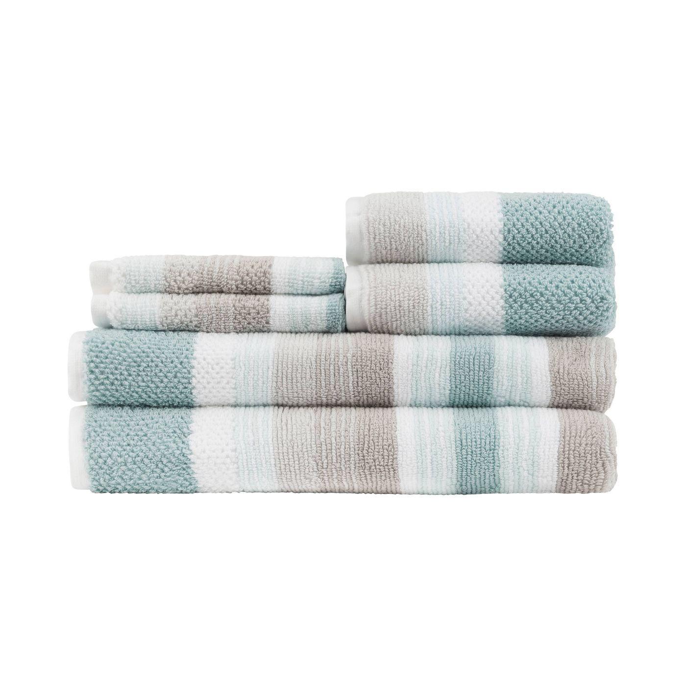 6pc Montauk Bath Towel Set Seaglass Gray Caro Home Towel Set