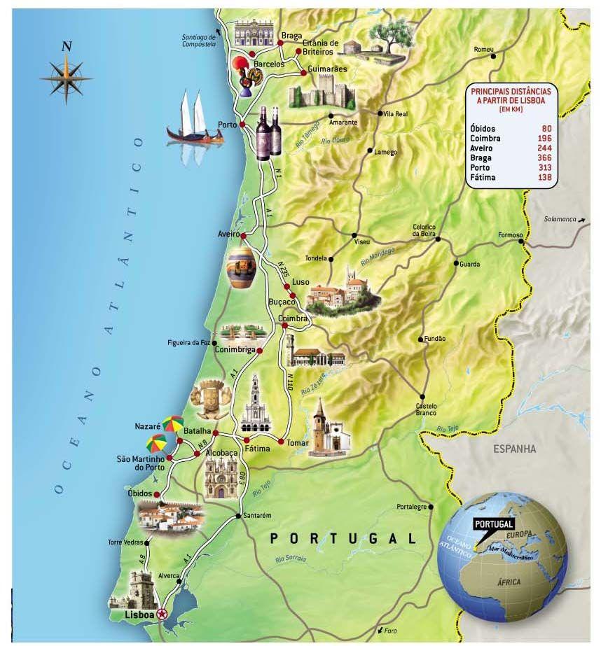 mapa turistico de portugal Viagem para Portugal turismo, lugares que valem a pena | Pinterest  mapa turistico de portugal