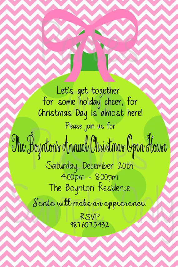 Open House or Christmas Party Invitation by PartiesandPastries ...
