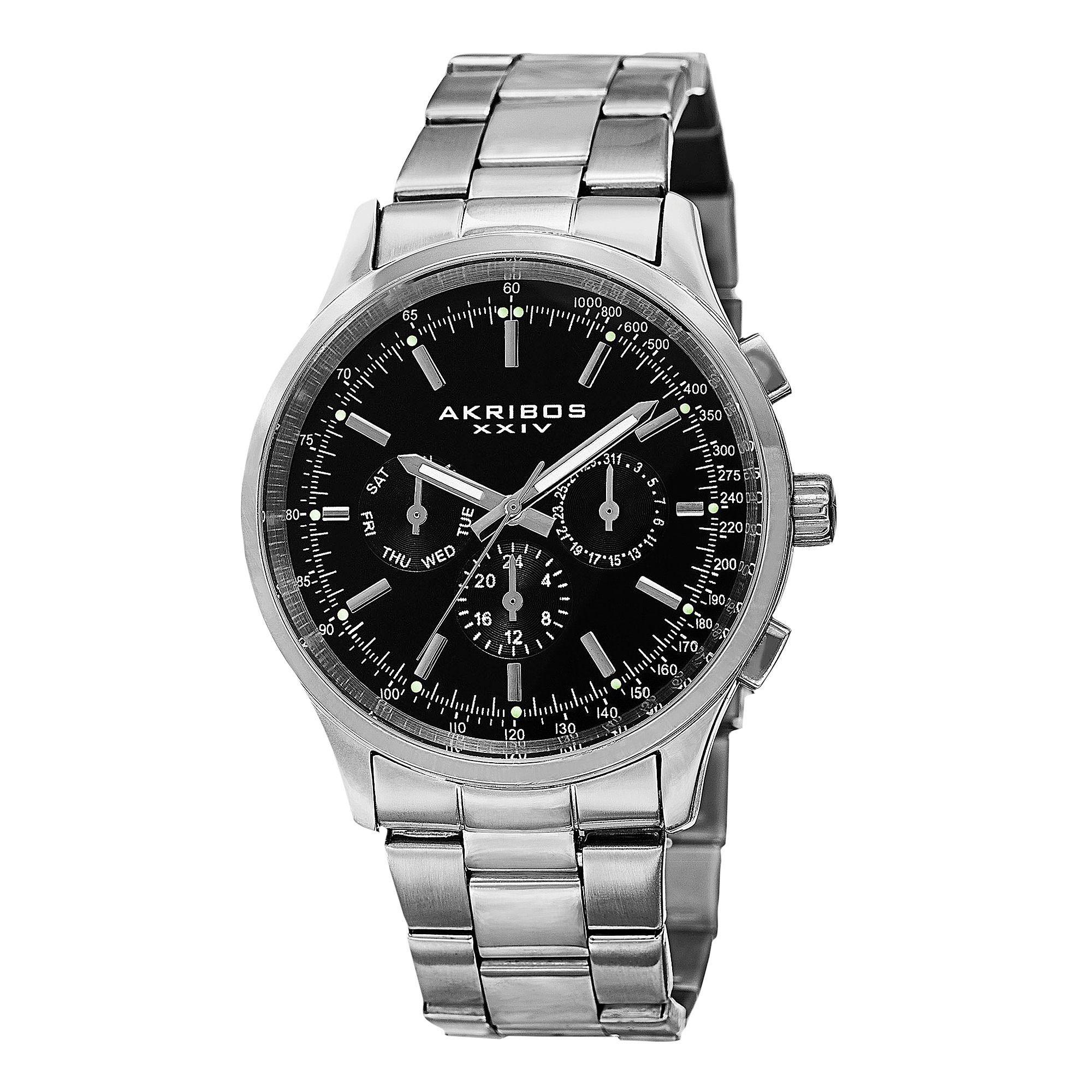 Akribos xxiv menus swiss quartz dual time tachymeter bracelet watch