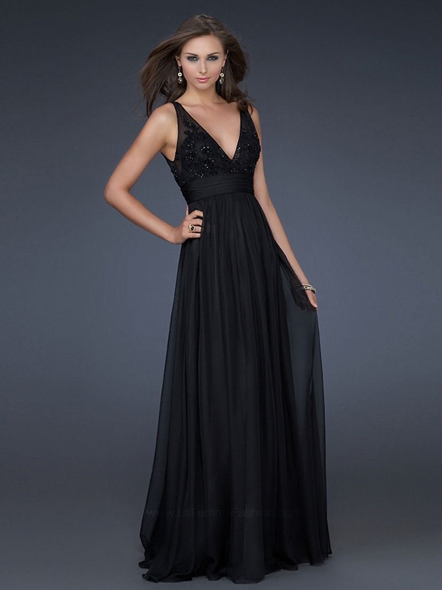 Classy deep vneck black chiffon evening gown of sequined bodice