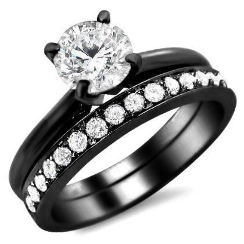 dbdcb8af7177d7c96a304be6794b9a93jpg - Black Gold Wedding Ring Sets