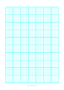 This A4 Sized Graph Paper Has One Cyan Line Every 5mm With A Heavy