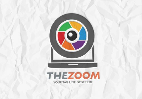 Lens Zoom logo vector template for download. Print ready