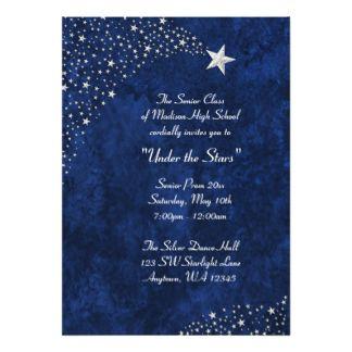 Silver Falling Stars Blue Prom Formal Invitations  MeganS